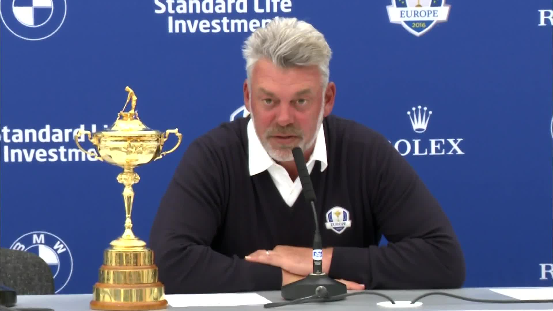 Darren Clarke, European Ryder Cup fulfilling one of many media obligations leading up to September's competition.